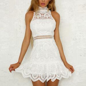 Women-Halter-Lace-Dress-Sleeveless-Summer-Beach-Slim-Short-Pencil-Dresses-White