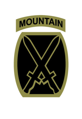 10th MOUNTAIN DIVISION Vinyl Window Decal//Sticker Olive//Black