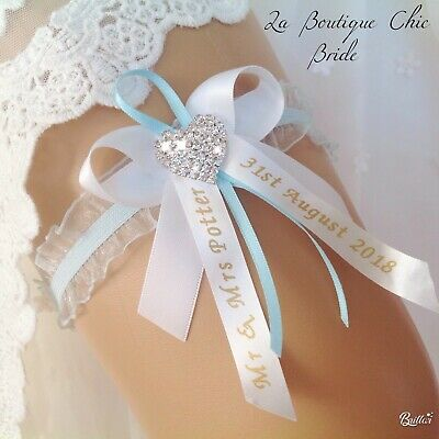 PERSONALISED PALE SOMETHING BLUE BRIDAL GARTER WEDDING DOUBLE DIAMANTE HEART