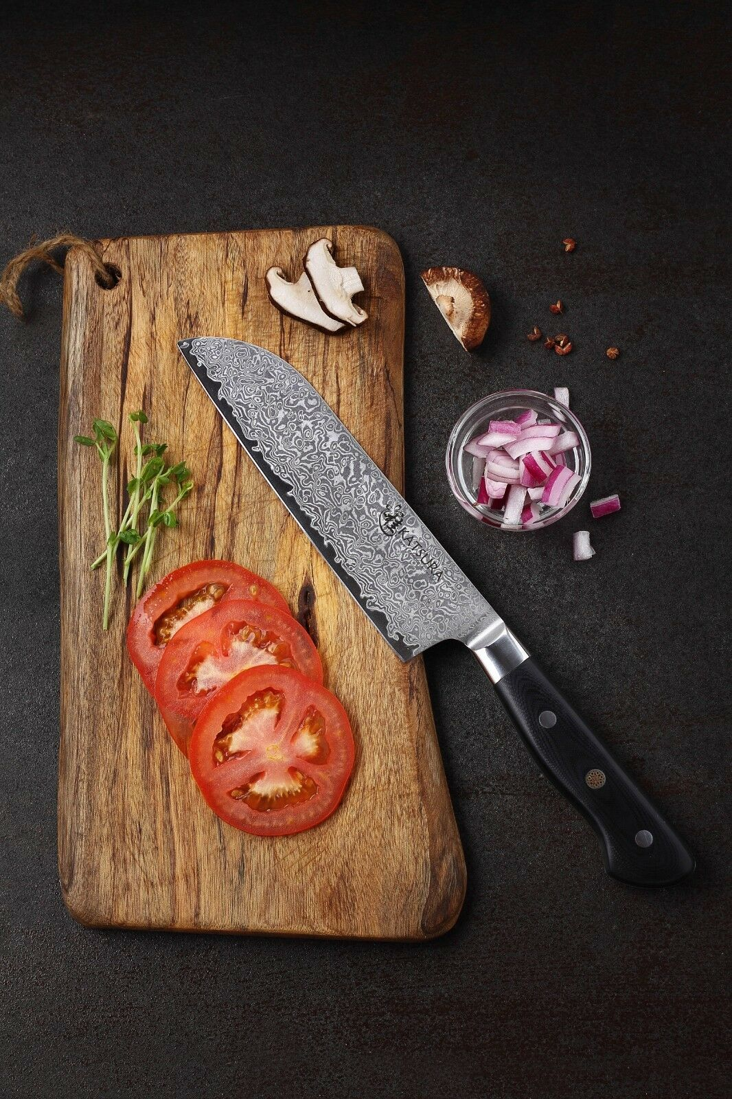 KATSURA Japanese Premium AUS 10 Damascus Steel 67 Layer Santoku chef  Knife 7-in