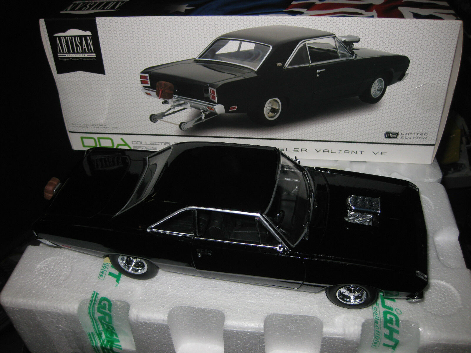 1 18 verdeLIGHT DDA 1969 CHRYSLER VALIANT VF PACER  HEMI DRAG CAR negro LTD ED