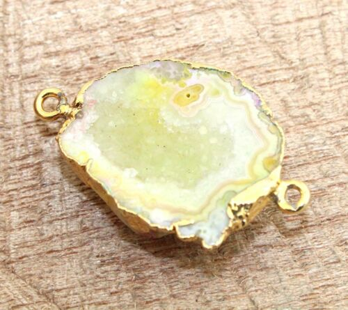 Natural Geode Druzy Sugar Agate Slice Gold Plated Connector Making DIY Jewelry