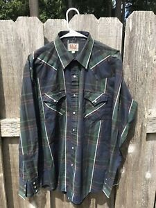 VTG-Ely-Cattleman-Western-Mens-L-S-Pearl-Snap-Shirt-Plaid-Rodeo-Cowboy-16-5-35
