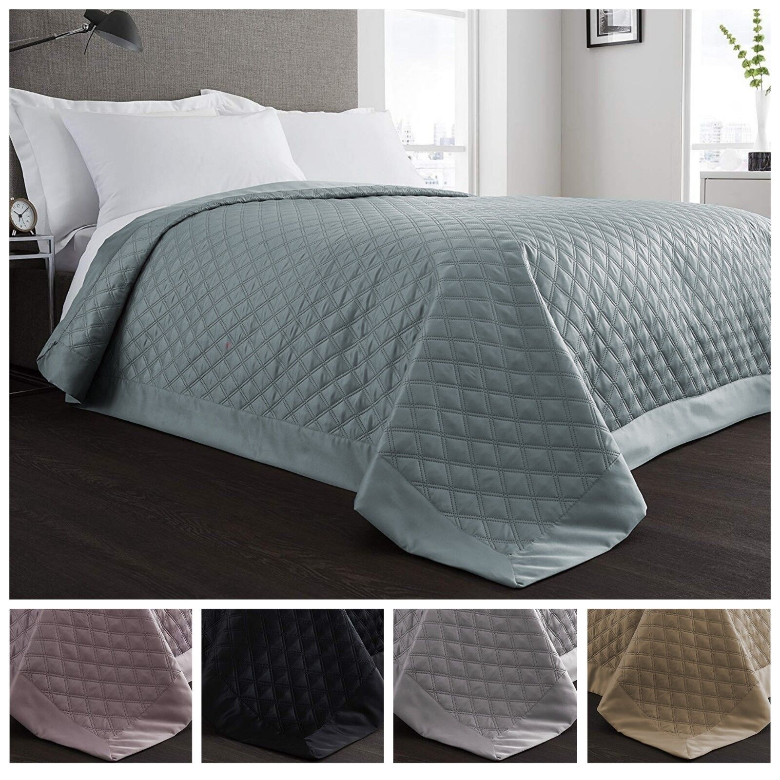 Luxury Manhattan Diamond Stitch Quilted Matt Satin Hotel Bedding Throw Bedspread