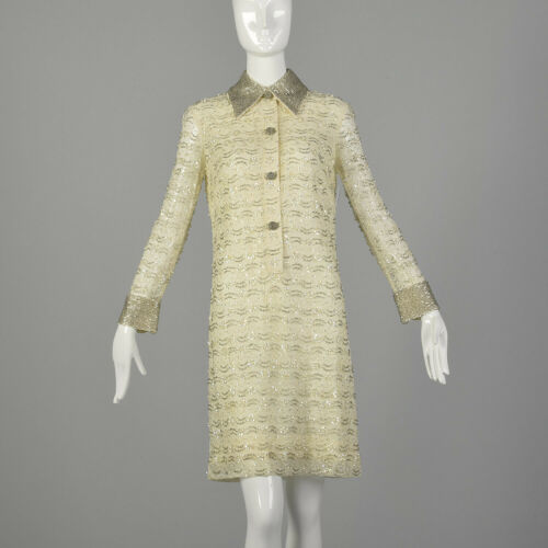 Medium 1960s Mod Dress Beaded Long Sleeve White Se