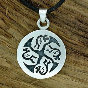 925 Silber Kokopelli Ketten-Anhänger Hopi-Style handgesägt Biker Indianerschmuck