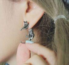 1x Leopard Ear Cuff Stud Earrings Sweep Wrap Vintage Silver Tone Cat slv ECF11