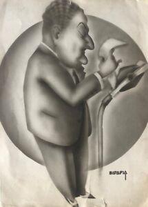 Caricature of the Cuban artist Bidapia, original signed