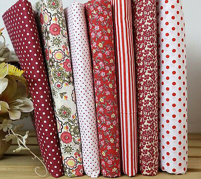 Dark Red Series 7 PCS Assorted Pre-Cut Plain Cotton cloths Fabrics for Sewing D3