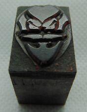 Vintage Printing Letterpress Printers Block Villain Evil Face