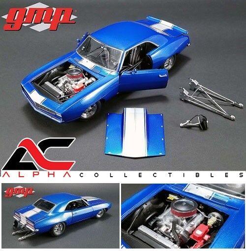 GMP 18876 1 18 1969 Chevrolet Camaro 1320 Serie blu Arrastre coche