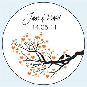 Personalised-Wedding-Stickers-Labels-Any-Colour-5-sizes-Birds-Kissing-Tree-D044