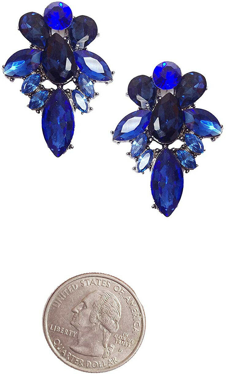 Art Deco Antique Vintage Style Sapphire Navy bluee Wedding Bridal Prom Cluster