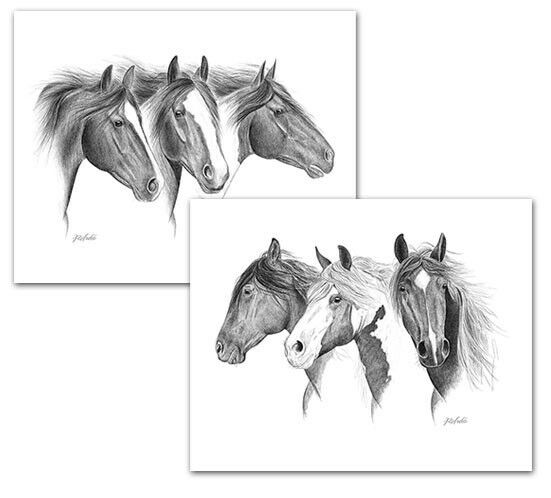 MUSTANGS WILD HORSE ART set of 2 signed by  artist Rohde - beautiful quality DEAL  up to 60% off