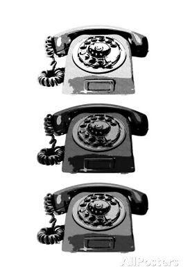 Vintage Rotary Telephone b&w Pop Art Print Poster Poster Print, 13x19