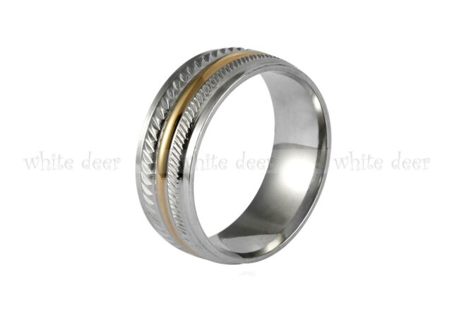 8 mm Men's Women's Gold Stainless Steel Silver Carve Trim Band Ring Comfort Fit