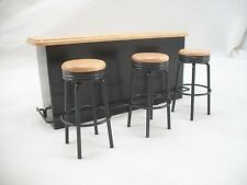 1950s Counter w/ 3 Stools Wood T4239 dollhouse miniature furniture metal Bar 4pc