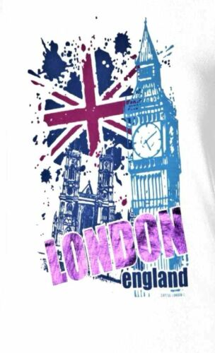London England Big Ben /& Flag Jack Tee Ladies Stretch Tops T shirts