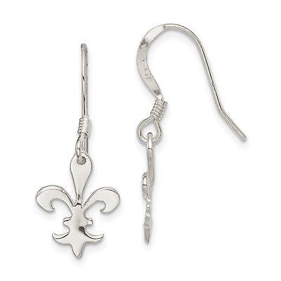 925 Sterling Silver Filigree Fleur De Lis Dangle Hook Earrings