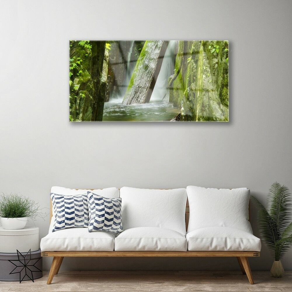 Print on Glass Wall art 100x50 Picture Picture Picture Image Waterfall Nature b5537e