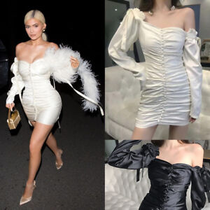 Kylie-Jenner-Kendall-Ruching-Off-shoulder-Mini-Satin-Dress-Puff-Sleeve-Bodycon