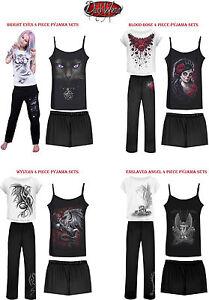 SPIRAL-DIRECTO-sangre-de-gato-Angel-rosacalavera-4-Piezas-Pijamas-Juego-Mujer