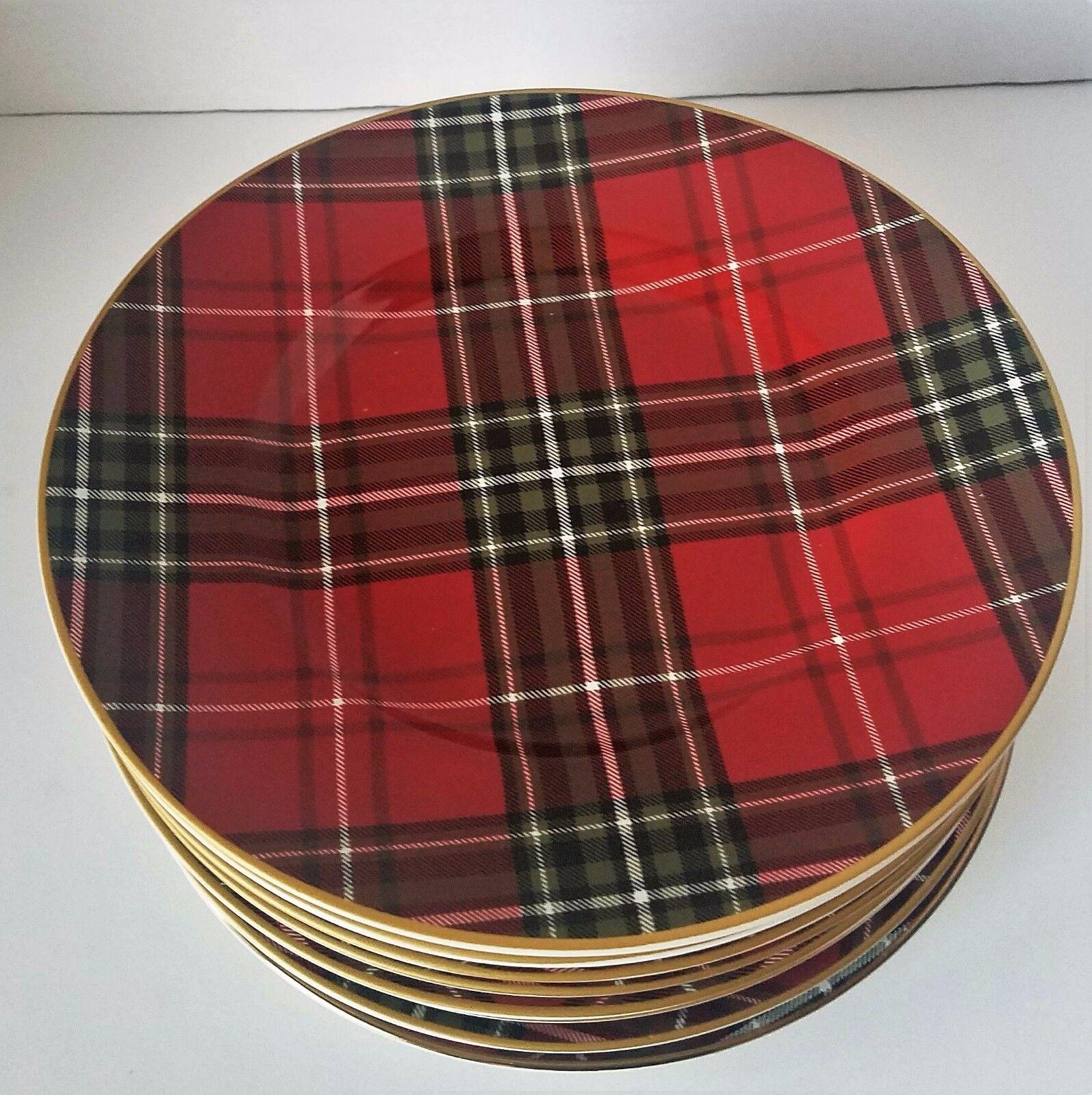 222 Fifth Wexford Plaid rouge Salad Plate Set de 8 NEUF