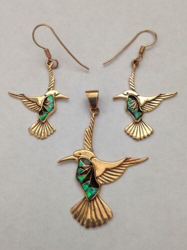 Bronze Handmade Inlay Stone Hummingbird Hook Dangle Set
