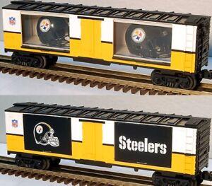 MTH-RAILKING-PITTSBURGH-STEELERS-HELMET-WINDOW-BOX-CAR-NFL-FOOTBALL-TRAIN-SET