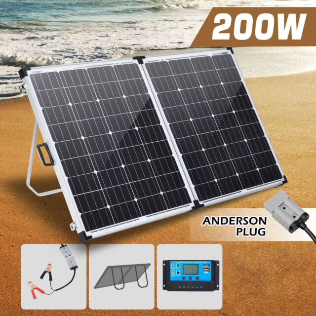New 200W Solar Panel Folding Kit 12V Battery Charger Power Mono Boat Camping