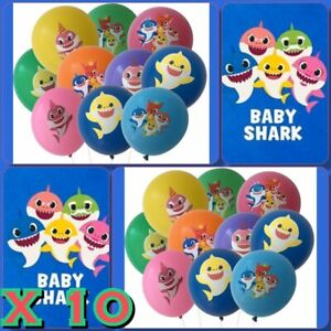 10x Shark Balloons For Party Loot Bags Sticker Baby Shower Supplies Birthday