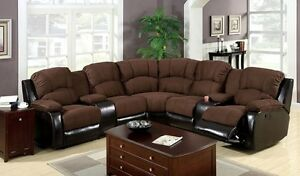 Brown Elephant Skin Microfiber Espresso Finished Recliners Sectional Sofa Set
