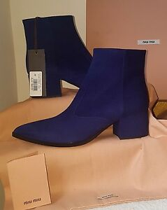 76799ea335ea BNIB Stunning Miu Miu Purple Suede Pointed Toe Ankle Boots. UK 3 ...