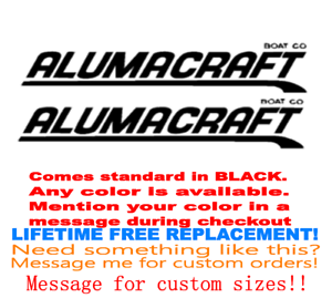 """YOUR COLOR CHOICE 19 MARINE GRADE PAIR OF 4.5/""""X28/"""" ALUMACRAFT BOAT HULL DECALS"""
