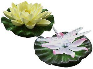 LED-Schwimmlicht-mit-Farbwechsel-Batteriebetrieb-Wasserlilie-oder-Libelle