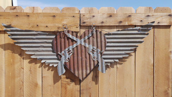 Corrugated Metal Wings with Cross Pistols on Heart Cowboy Cowgirl Old West