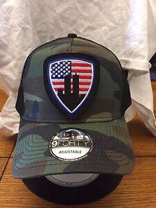 New Era NE205 Camo Mesh Trucker Hat  Cap American Flag 9 11 New York ... 172d0cd5623