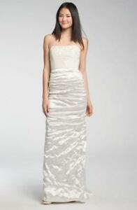 6eebd20d Image is loading Nicole-Miller-Embroidered-Bodice-Ruched-Satin-Gown-Size-