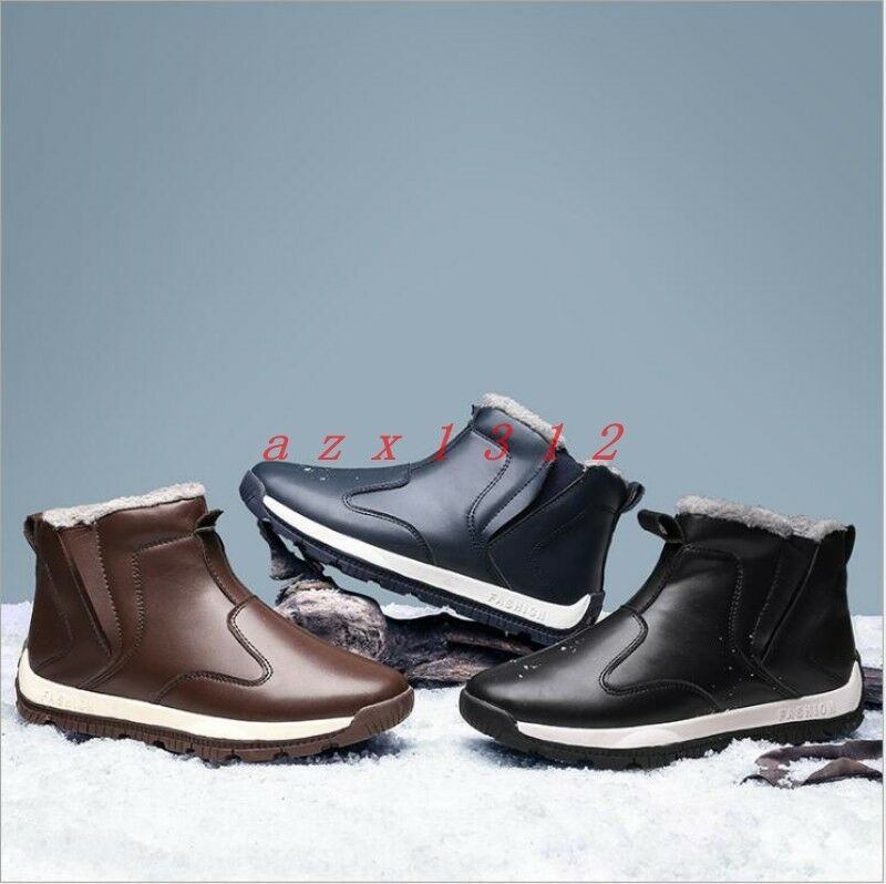 Men Round Toe Fur Lined Warm Winter Ankle Boot Top Shoe Snow Outdoor High Top Boot Casual 45512a