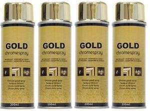 Détails Sur 4 Bombes Peinture Chrome Or Doré Effet Miroir Gold Aérosol Spray 4x200 Ml