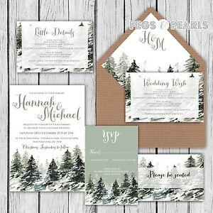 personalised luxury rustic christmas snowy trees wedding invitations