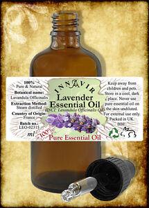 100% Pure Lavender Essential Oil 100ml,50ml,30ml,10ml with Pipette Cap, 5ml