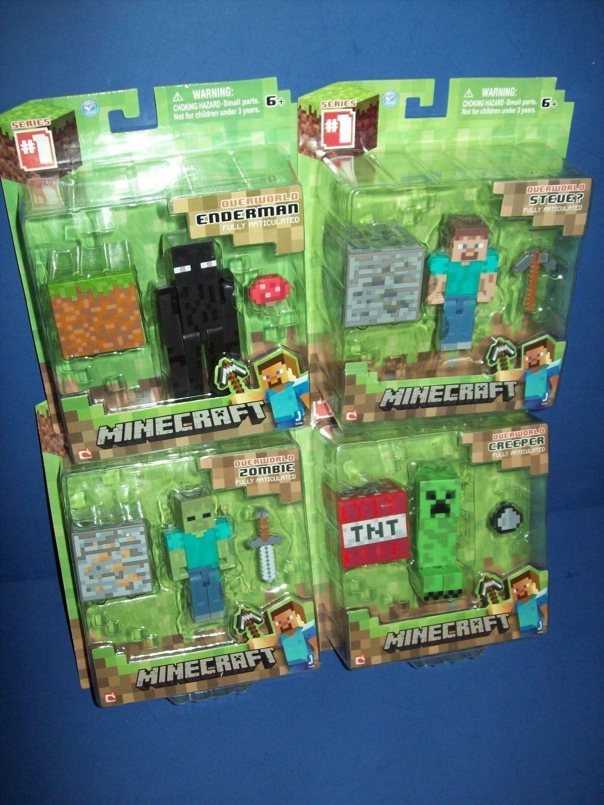 Minecraft 4 Figure Overworld Lot - Enderman Steve Creeper Zombie Series 1 New
