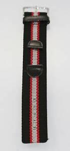 Herren-One-Piece-Edelstahl-schwarz-Nylon-Leder-Ersatz-Watch-Band-18mm