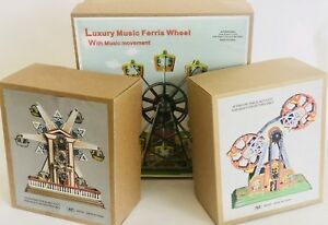3x-DIFFERENT-TIN-TOY-FERRIS-WHEELS-WIND-UP-CLOCKWORK-INC-MUSICAL-FERRIS-WHEEL
