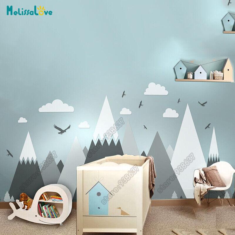 Gros Bébé Chambre Decal Adventure theme decor énorme Mountain Cloud Bird Nursery Enfant