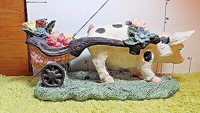 Pig Pulling Vegetable Cart, Alberto Price Products,1993, Resin, Collectible