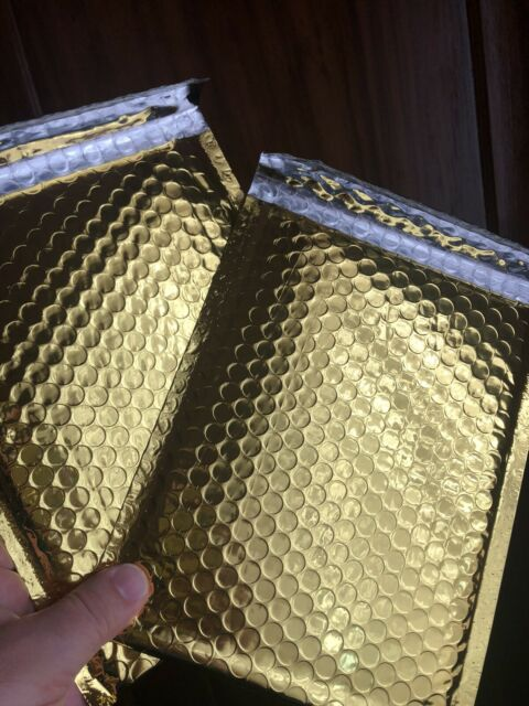25 #2 Glamour Metallic Gold Poly Bubble Shipping Mailers Envelopes Bags 8.5x12