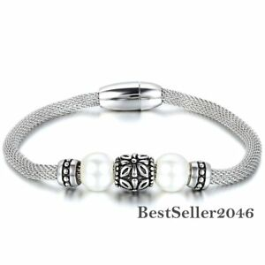 Womens-Retro-Manmade-Pearl-Bead-Stainless-Steel-Mesh-Wrapped-Magnetic-Bracelet