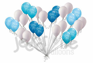 Image Is Loading 24 Pc Blue Baby Boy Latex Balloons Party